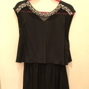 Madison Marcus Black Silver Beaded Silk Dress